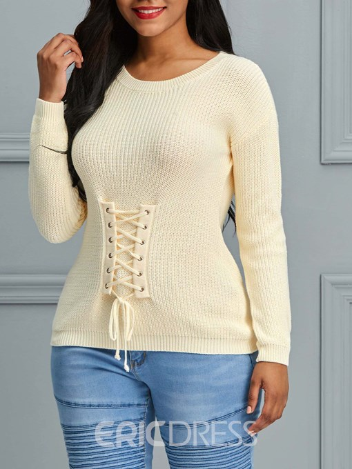 Ericdress Plain Lace-Up Roll-up Long Sleeves Knitwear
