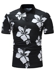 Ericdress Floral Print Slim Fit Mens Polo T Shirt фото