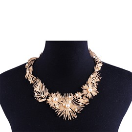 Ericdress Pearl Leafage Shining Necklace