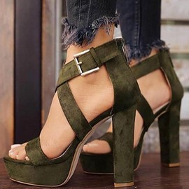 Ericdress Plain Open Toe Buckle Chunky Sandals