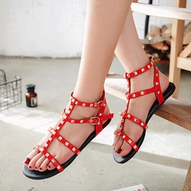 Ericdress Rivet Strappy Block Heel Flat Sandals