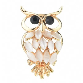 Ericdress Night Owl Diamante breastpin