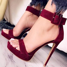 Ericdress Platform Open Toe Line-Style Buckle Heel Sandals