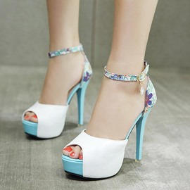 Ericdress Print Platform Peep Toe Stiletto Heel Pumps
