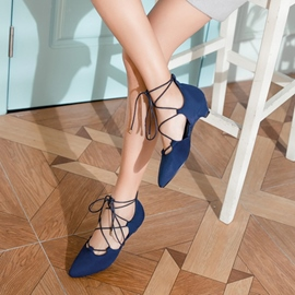 Ericdress Lace-Up Pointed Toe Chunky Heel Pumps