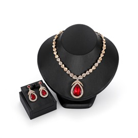 Ericdress Water-Drop Gems Jewelry Set