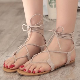 EricdressLace-Up Ankle Strap Plain Thong Flat Sandals