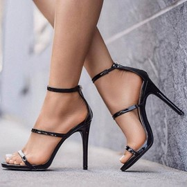 Ericdress Plain Open Toe Zipper Heel Sandals