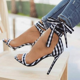 Plaid Open Toe Lace-Up Heel Sandals