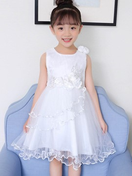 Ericdress A-Line Bowknot Plain Girl's Princess Dress