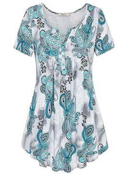 Ericdress Women's Notch-V Casual Print Short Sleeve Blouse