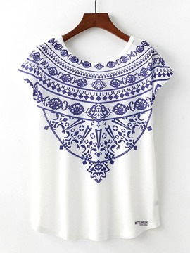 Ericdress Women's Print Geometric Short Sleeve Tee Shirt