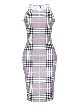 Ericdress Gingham Hollow Backless Color Block Bodycon Dress