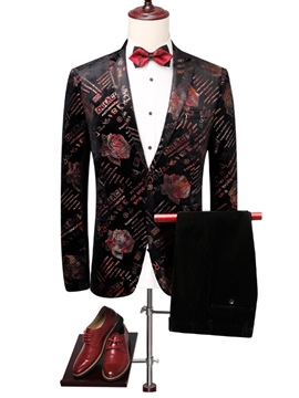 Ericdress Floral Print Mens Wedding Ball Suits Blazer Pants