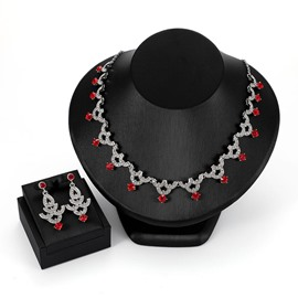 Ericdress Wedding Red Gems Jewelry Set