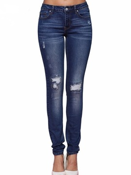 ericdress hole plain jeans mujer