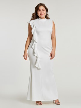 Ericdress Plus Size Stand Collar Falbala Ankle-Length Plain Mermaid Dress