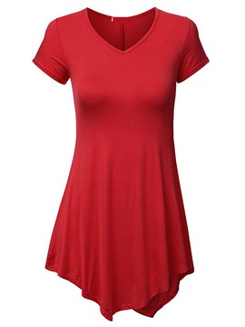 Ericdress Women's Plain Notch-V Loose Tee