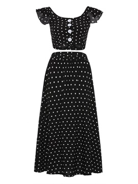 Polka Dot Ruffle Top And Pants Women's Two Piece Suit