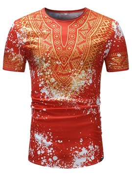 Ericdress Dashiki Printed Slim Mens Scoop T Shirt