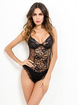 Ericdress Ruffle Floral Lace Teddy