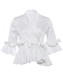 Frill Flalre Sleeve V-Neck Women's Blouse