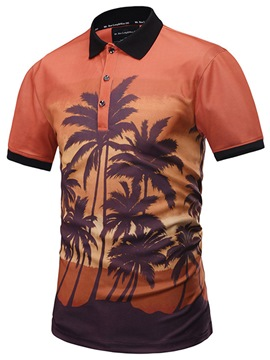 Ericdress Coconut Printed Slim Mens Short Sleeve Shirts