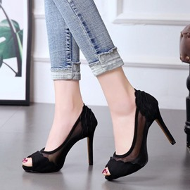 Ericdress Patchwork Platform Peep Toe Stiletto Heel Pumps