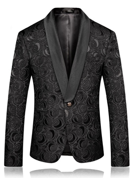 Ericdress negro impreso slim fit mens wedding ball blazer