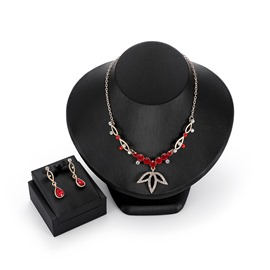 Ericdress Maple Leaf Ruby Jewelry Set