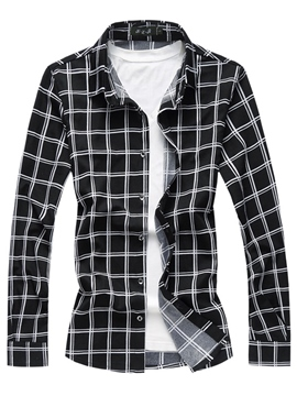 Ericdress Plaid Slim Fit Lapel Mens Casual Shirts