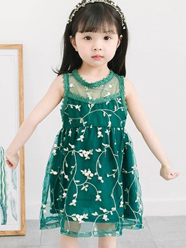Ericdress Mesh Embroidery Patchwork Floral Baby Girl's Dress