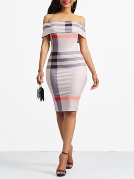 Ericdress Ball Gown Slash Neck Backless Stripe Bodycon Dress