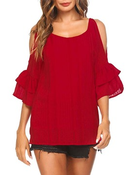 Ericdress Women's Cold Shoulder Scoop Short Sleeve Blouse
