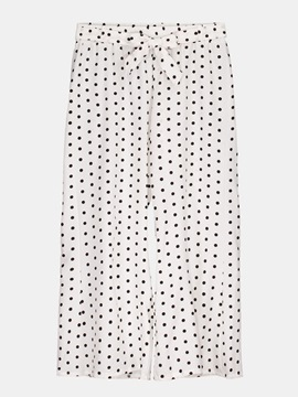 Polka Dots Print Self Tie Front Women's Pants