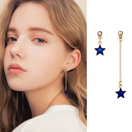 Ericdress Blue Star Drop Earrings