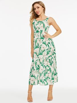Printing Floral Sleeveless A-Line Dress