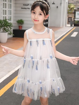 Ericdress Embroidery Feather A-Line Girl's Sleeveless Dress