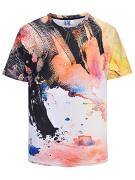 Ericdress Printed Color Block Loose Scoop Mens T Shirt