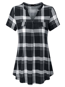 Ericdress Women's Gingham Mid-Length Loose Blouse