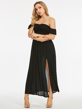 Black Off Shoulder High Split Dress