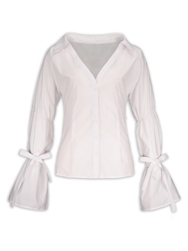 Ericdress V-Neck Heap Sleeve White Blouse