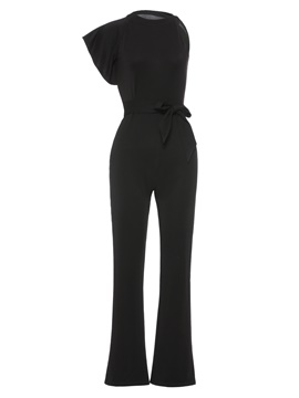 Ericdress Plain Asymmetric Lace-Up Women's Jumpsuit