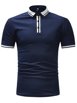 Ericdress Stripe Plain Slim Fit Mens Polo T Shirt