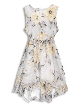 Ericdress White Floral Plant Sweet A-Line Dress