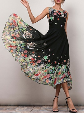Ericdress Floral Color Block Ladylike Maxi Dress
