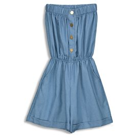 Plain Hem Tiered Button Women's Romper