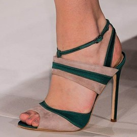 Peep Toe Strappy Buckle Heel Sandals