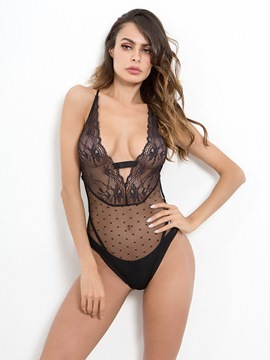 Ericdress Deep V Neck Sexy Lace Backless Criss-Cross Teddy