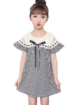 Ericdress Plaid Bowknot Patchwork Girl's A-Line Dress